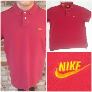 Vtg Nike Men's Red Essential Polo Shirt XL